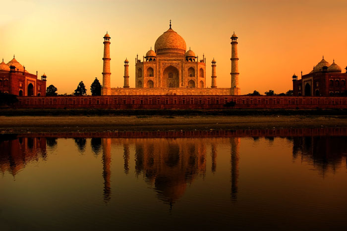 Taj Mahal sunset with reflections