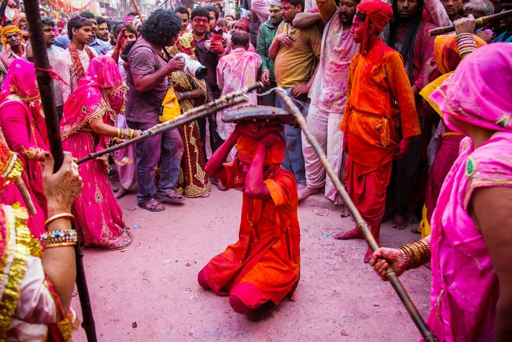 Lathmar Holi celebrations in Barsana, Uttar Pradesh