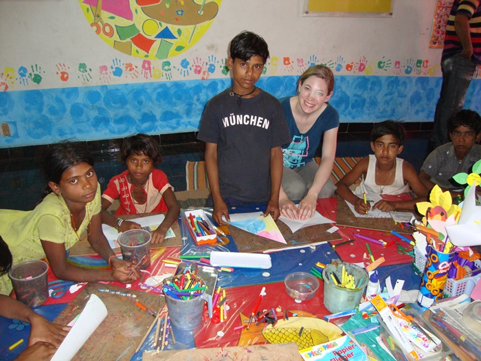 Art and craft class taken by volunteer in India