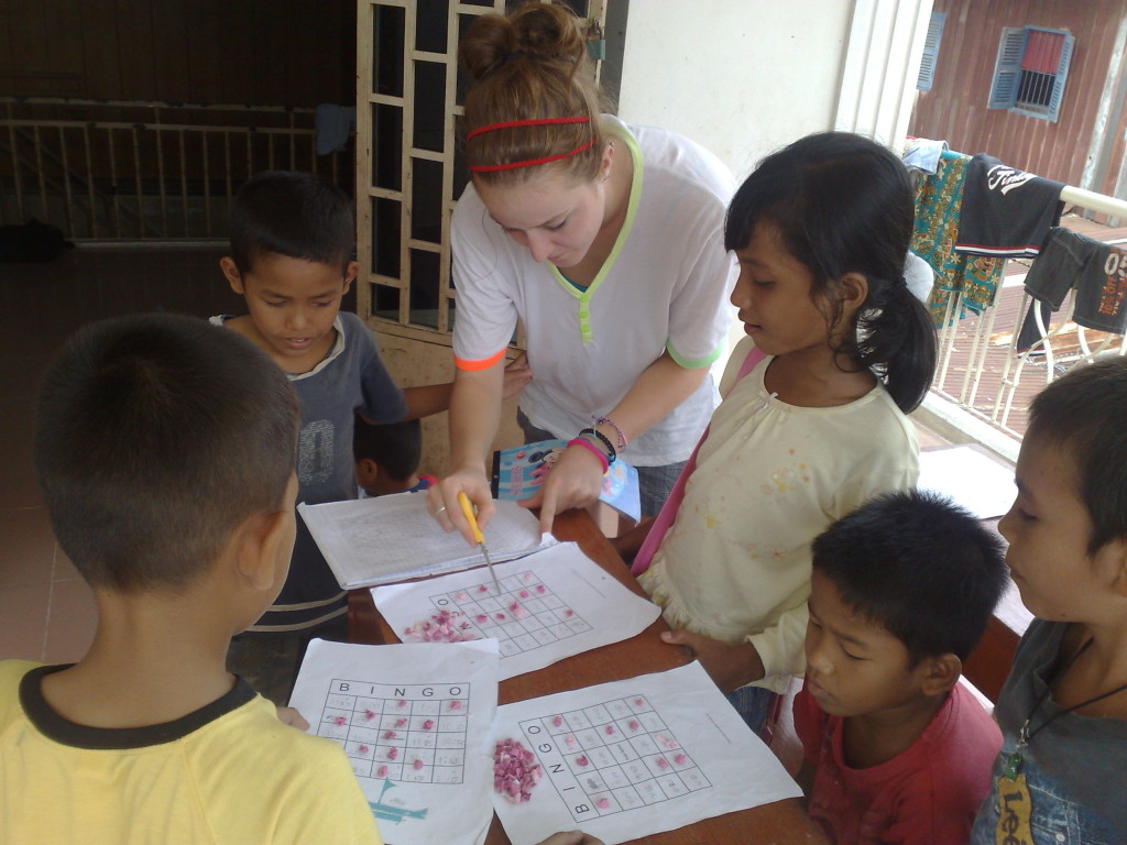 working at an orphanage with volunteering India