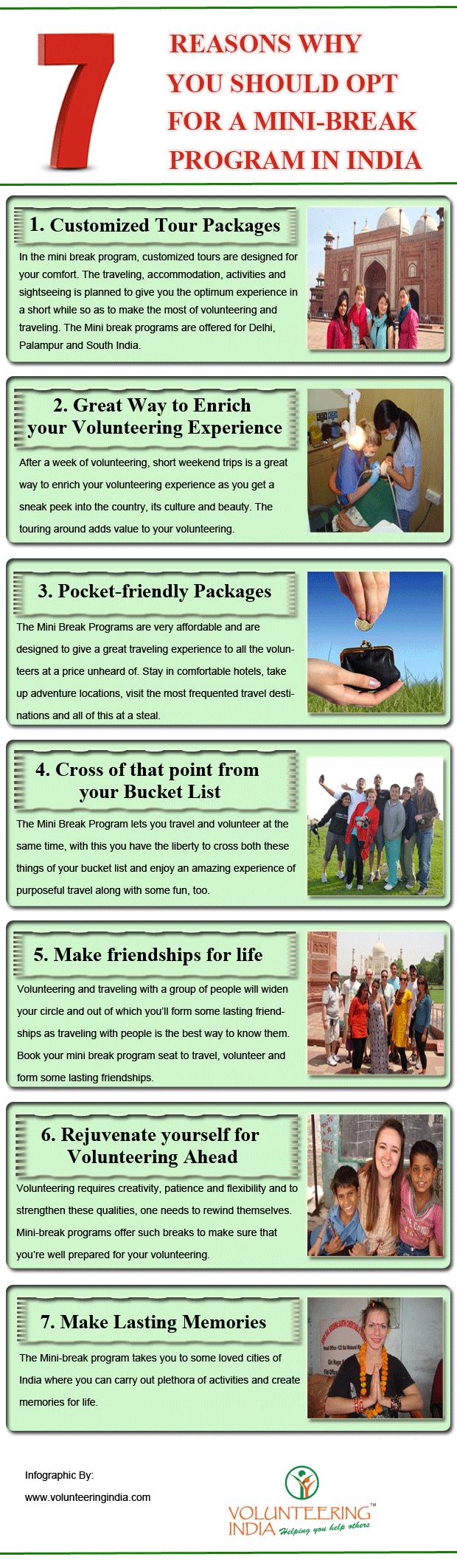 Mini break volunteer program in India   Infographic
