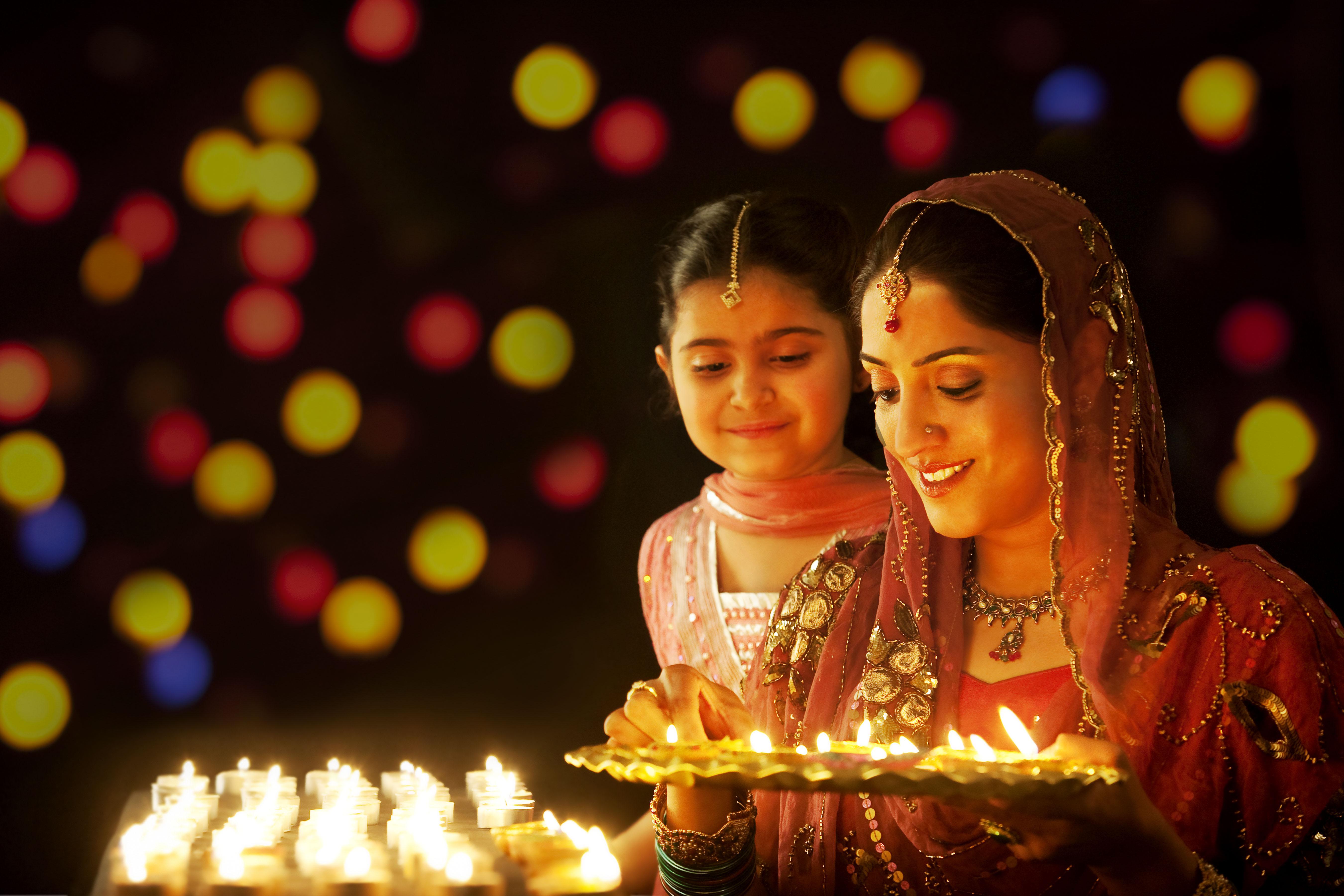 light diyas on diwali